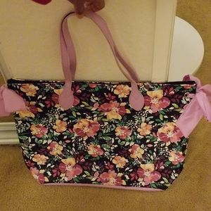 Floral Tote Bag with bows on the side